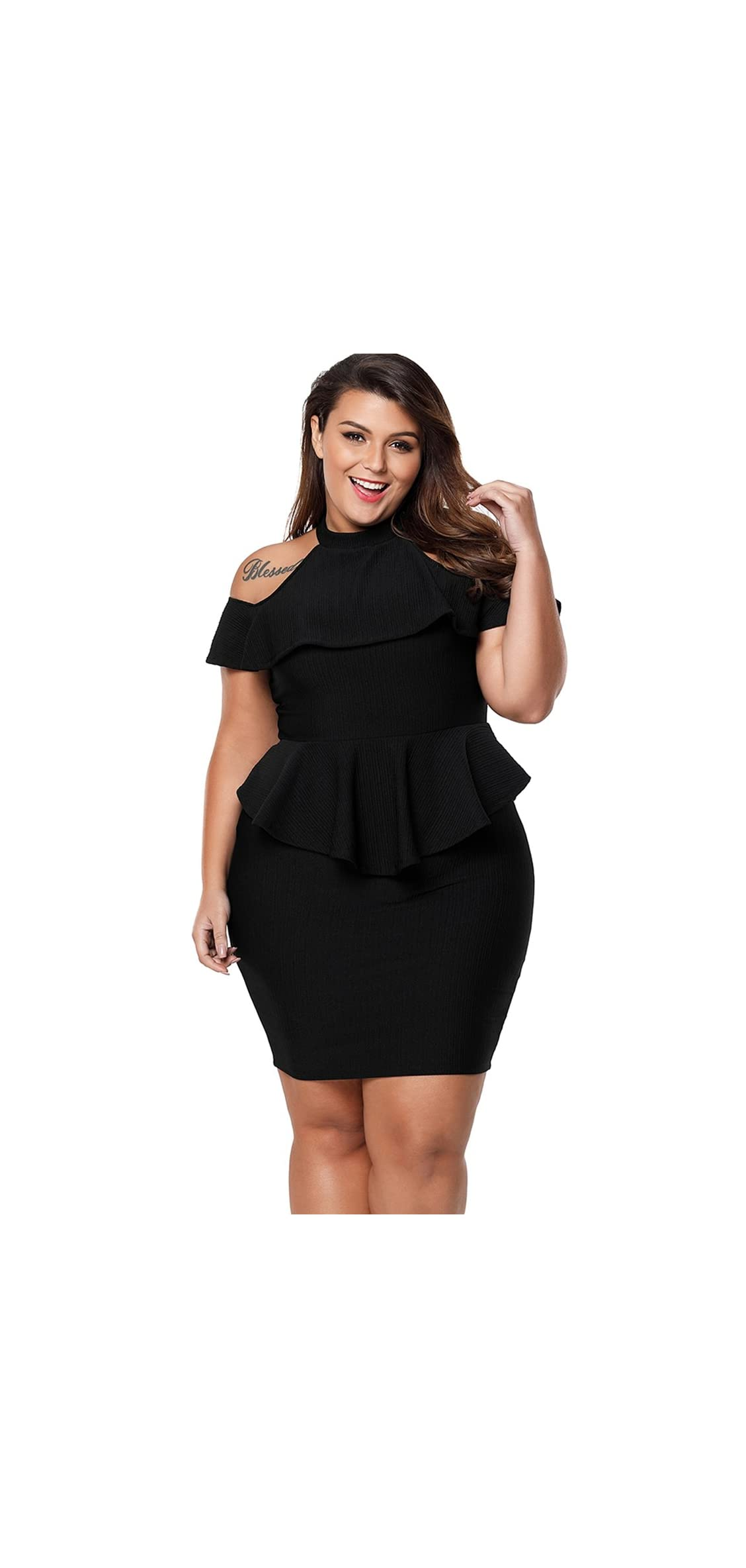 Women's Plus Size Cold Shoulder Peplum Dress Bodycon