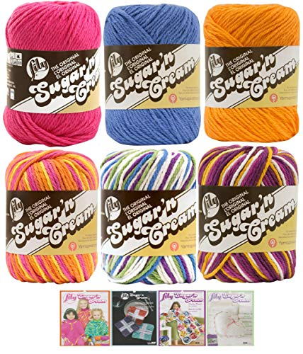 Variety Assortment Lily Sugar'n Cream Yarn 100 Percent Cotton Solids and Ombres (6-Pack) Medium Number 4 Worsted Bundle with 4 Patterns (Asst AC) (Big Yarn)