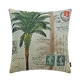 TRENDIN 18'' X 18'' Vintage Palm tree Stamp printing Linen Cushion Cover Throw Pillow Case Sofa Decor(PL113TR)