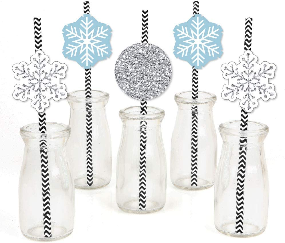 Big Dot of Happiness Winter Wonderland Paper Straw Decor - Snowflake Holiday Party and Winter Wedding Striped Decorative Straws - Set of 24