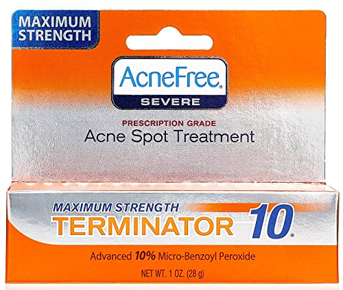 Price comparison product image AcneFree Terminator 10 Acne Spot Treatment with Benzoyl Peroxide 10% Maximum Strength Acne Cream , 1 Ounce