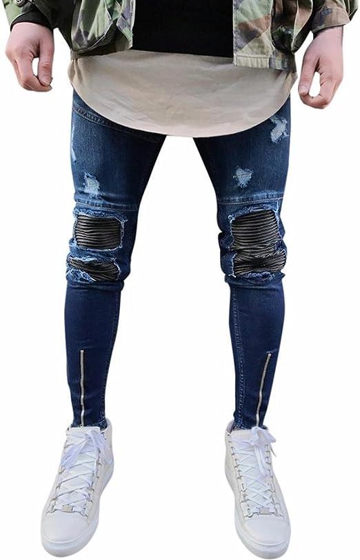 Jeans Hose Kolylong® Herren Vintage Jeans Hosen mit löchern