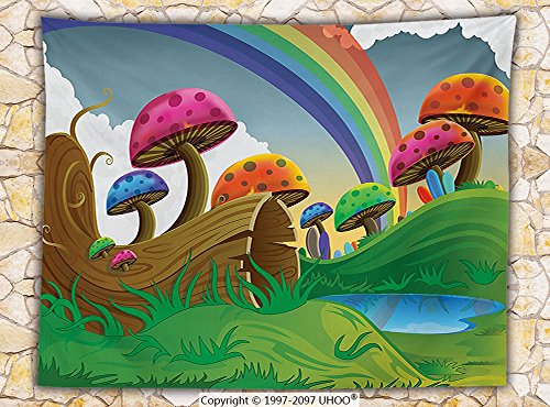 Mushroom Decor Fleece Throw Blanket Countryside Sunny Playful Environment Foliage Rainbow Vibrant Colors Spring Scene Kids Room (Elvis Side Burns)