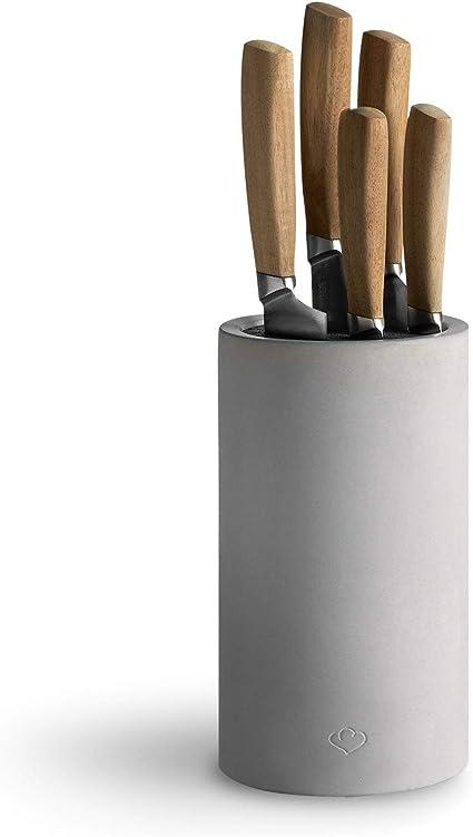 Bloc De Couteaux Universel En Beton Rangement Des Couteaux De Cuisine Porte Couteaux Bloc A Couteaux Set De Couteaux 5 Pcs Amazon Fr Cuisine Maison