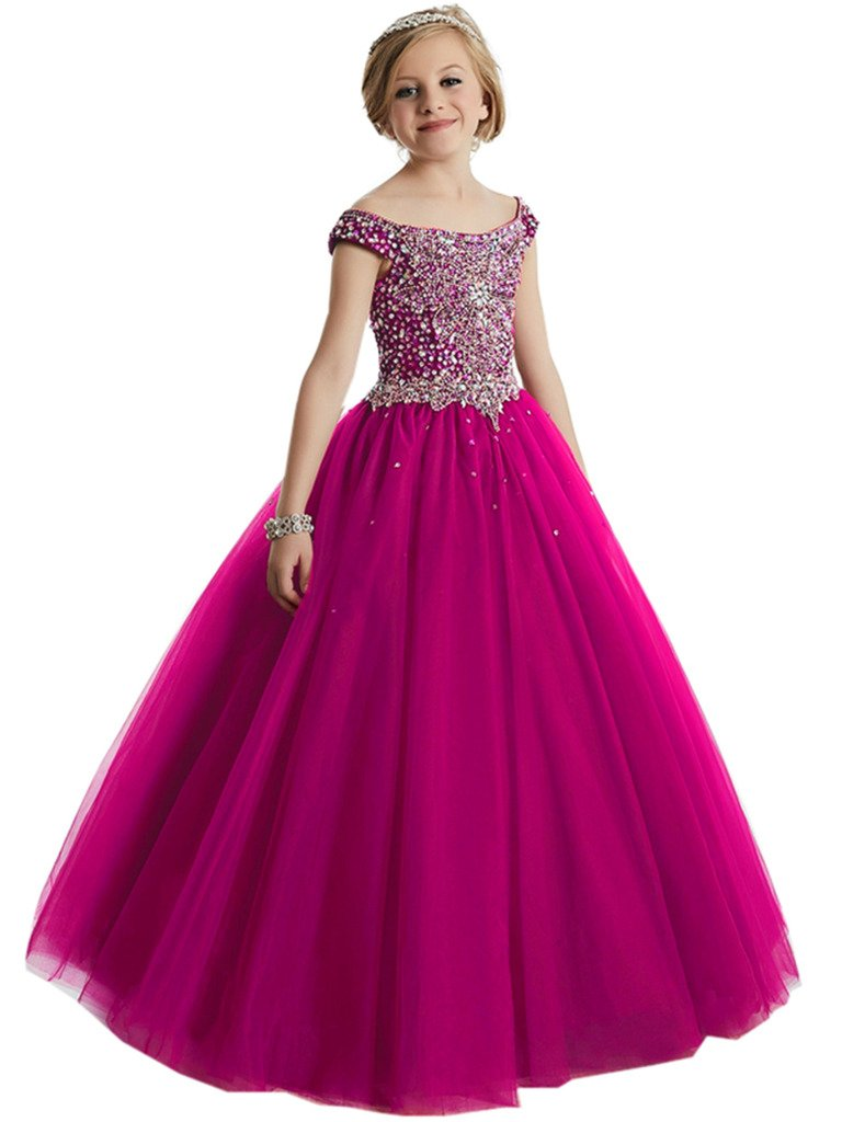 Big Girls Beaded Floor length Prom Party Gowns Pageant Dresses Custom Made Fuchsia-2
