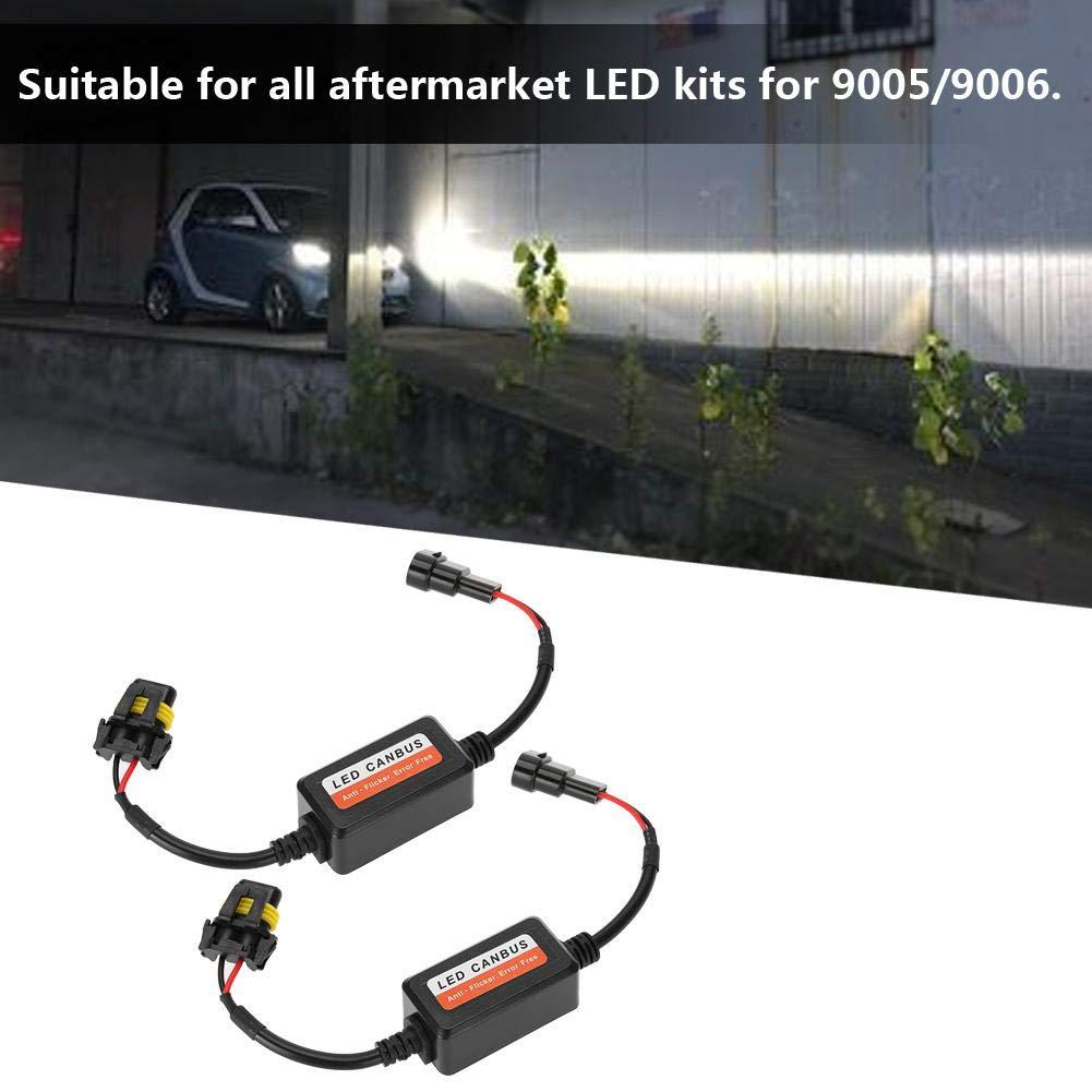 LED Decoder 2 Car LED Headlight Decoder 9005//9006 Radio Audio Anti-interference Error Canceller Filter