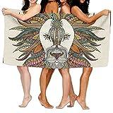 KTMB Ethnic Lion Animals Print Washable Extra Large Bath Beach Towel Soft Personality Towel