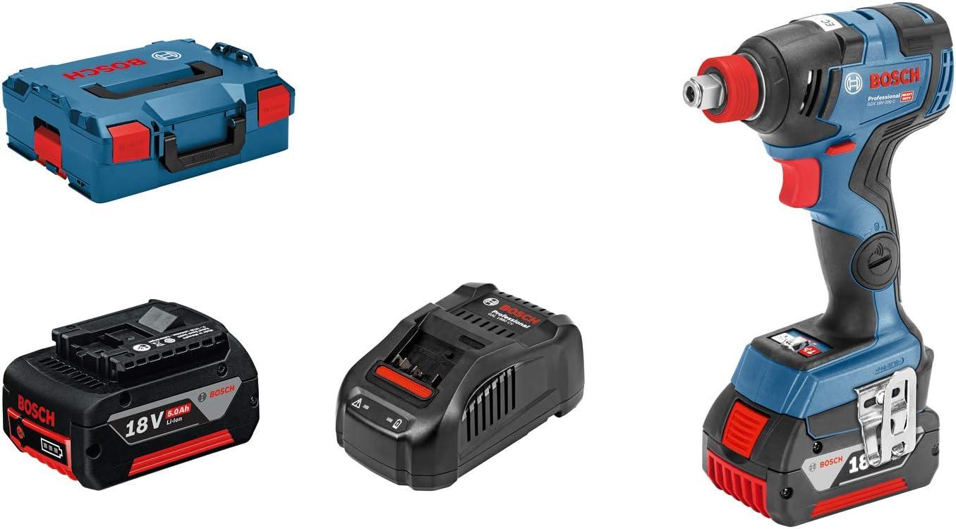 Bosch Professional GDX 18V–200 C - Llave de impacto a batería (2 baterías x 5.0 Ah, 18V, 200Nm, conectable, en L-BOXX)