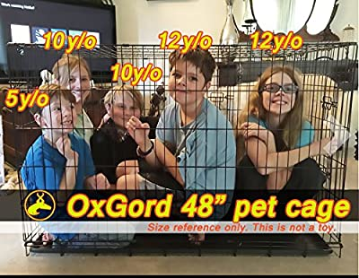 """OxGord 48"""" XXXL Dog Crate, Double-Doors Folding Metal w/ Divider & Tray 48"""" x 29"""" x 32"""" 2016 Newly Designed Model from Day to Day Imports Inc."""