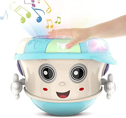 Electronic Music Sound Learning Educational Toy with Light for Baby Toddler WISHTIME Baby Musical Drum Toy Boys and Girls