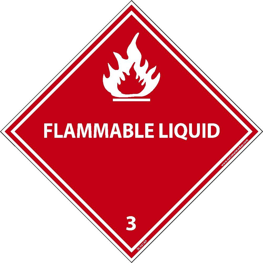 DL161ALV National Marker Dot Shipping Label, Flammable Liquid 3, 4 Inches x 4 Inches, Ps Vinyl, 500/Roll