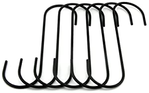 """RuiLing 6.5"""" Black Antistatic Coating Steel Hanging Hooks S Shaped Heavy-Duty S Type Hooks,Best for Kitchenware , Pots , Utensils , Plants , Towels , Gardening Tools , Clothes.Set of 6"""