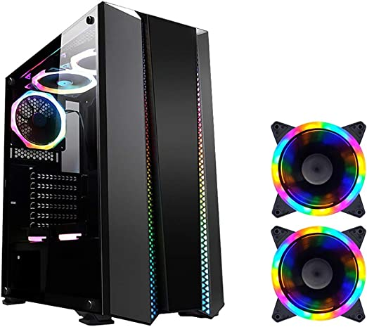 Mid-Tower ATX//M-ATX//ITX PC Gaming Computer Case,Tempered Glass,for Desktop PC Computer,Black WSNBB Gaming Case
