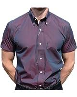 Relco Men's Short Sleeved Burgundy/Black Tonic Mod Retro Shirt
