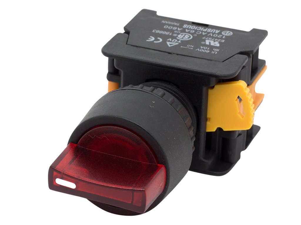 Alpinetech SL223 Red 22mm Maintained Selector Switch 2NO 3 Positions 12V LED