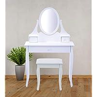 Ks Schminktisch mit Spiegel und Hocker Schubladen Kommode Kosmetiktisch Tisch
