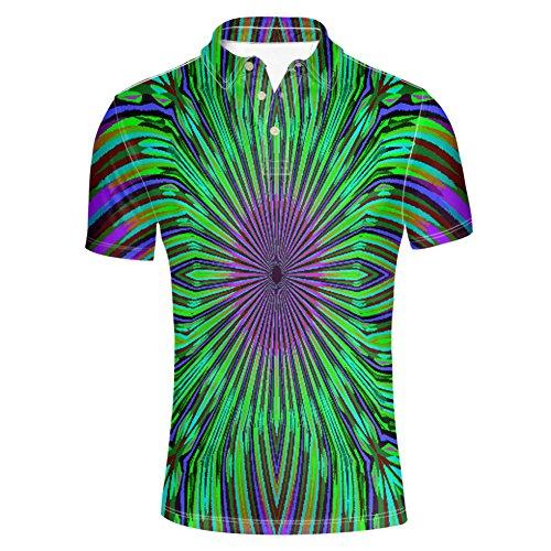 (HUGS IDEA Mens Golf Poloshirt Hipster 3 Button T Shirt Summer Fashion Striped Short Sleeve Tops)