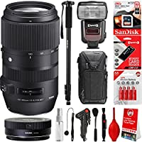 Sigma 100-400mm f/5-6.3 OS HSM Contemporary Lens for Canon Cameras + 20PC Bundle for 80D, 77D, 70D, 60D, 60Da, 50D, 7D, 6D, 5D, 5DS, 1DS, T7i, T7s, T7, T6s, T6i, T6, T5i, T5, SL2 and SL1