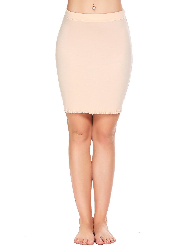 Palazen Damen Einfarbig Unterrock Modal Figurformender Miederrock Atmungsaktiv Elastisch Spitze Basic Röcke