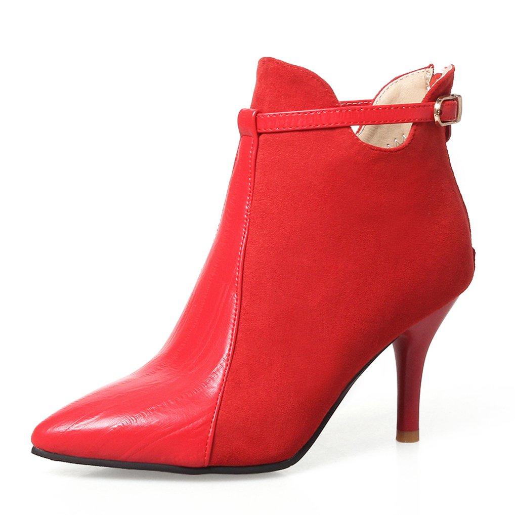 OALEEN Bottines Femme Élégante Talon 19994 Haut Aiguille Rouge BI-Matière Talon Aspect Cuir Chaussures Boots Rouge 4485eab - deadsea.space