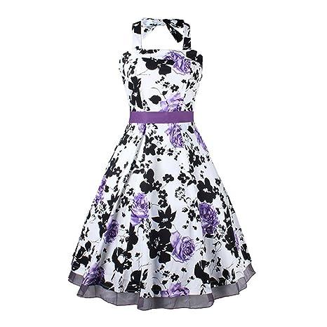 Vestido de flores – TOOGOO (R) de la mujer 50s 60s Vintage Halter cuello
