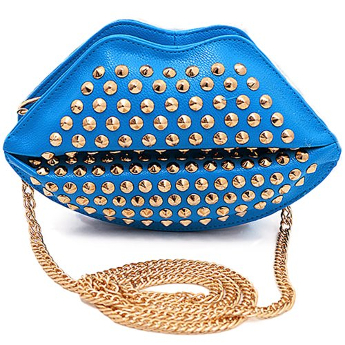Shoulder Chain Woman's Clutch Bag Sanwood Rivet Studded Lips Blue nf1wHgBqAg