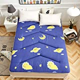 Yellow star Tatami single size mattress,Foldable cushion mats quilted student dorm futon mattress topper non-slip floor mat bed protection pad-D 90x200cm(35x79inch)