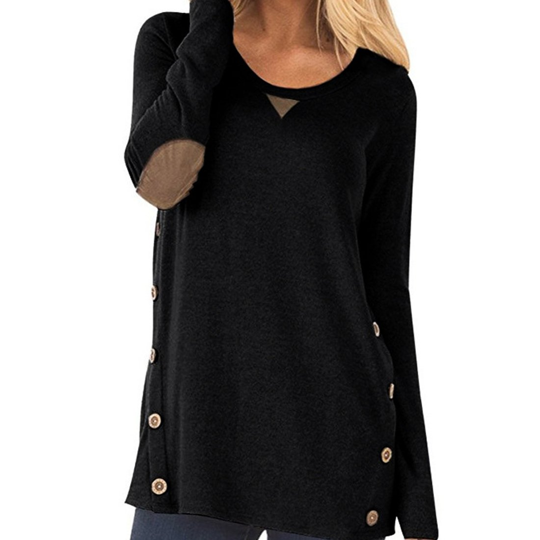 XRDSS Women Solid Color Round Neck Casual Loose Long-Sleevee Sweater T-Shirt top (l, Black)