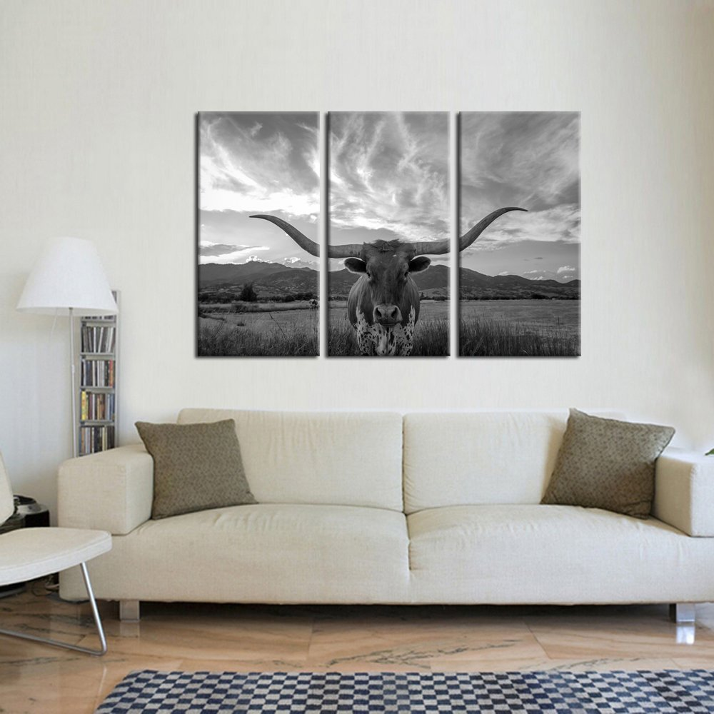 Kreative Arts - Large Modern Canvas Wall Art for Home and Office Decoration Animal Pictures Print Art on Canvas Texas Longhorn Canvas Prints Giclee Artwork for Wall Decor 16x32inchx3pcs by Kreative Arts (Image #2)