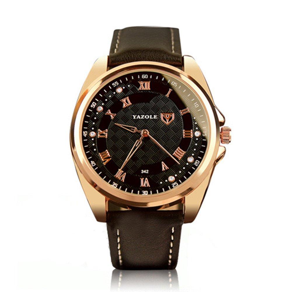 Yazole 342 Hombres Relojes lujo famoso macho reloj reloj de cuarzo reloj de pulsera de piel marrón: Amazon.es: Relojes