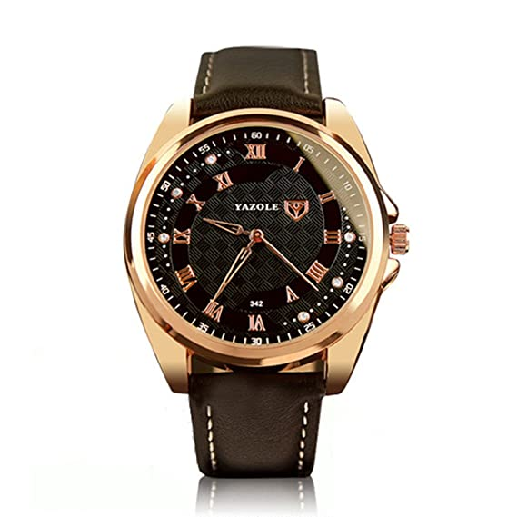 Yazole 342 Hombres Relojes lujo famoso macho reloj reloj de cuarzo reloj de pulsera de piel