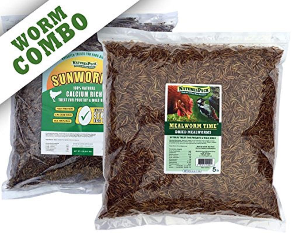 NaturesPeck Worm Combo - 10 lbs (5lbs Mealworms + 5lbs Sunworms) by NaturesPeck