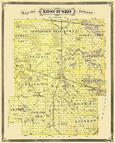 - MAPS OF THE PAST Kosciusko Indiana Landowner - Andreas 1876-23 x 28.75 - Glossy Satin Paper
