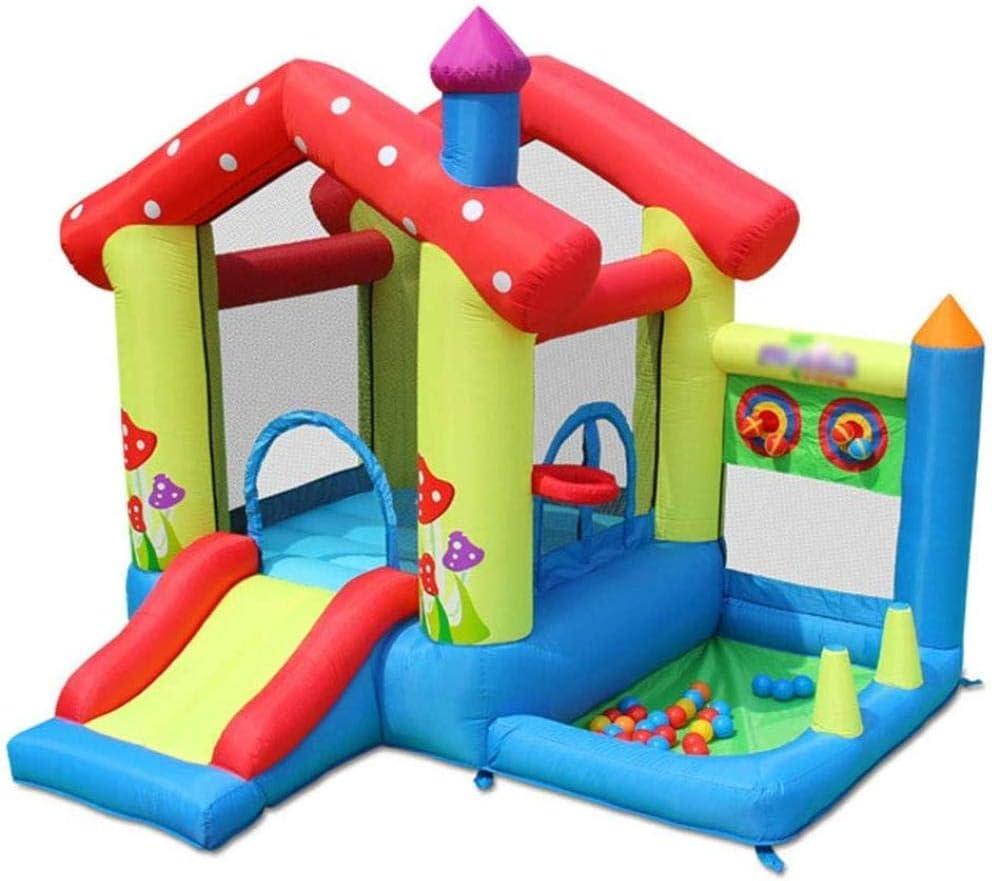 L.HPT Castillo Hinchable pequeño e Inflable para niños con Soporte de Baloncesto Tobogán Piscina de Bolas Marinas y área de Salto Grande (Incluyendo soplador y Bolsa de Agua) Actualización: Amazon.es: Hogar