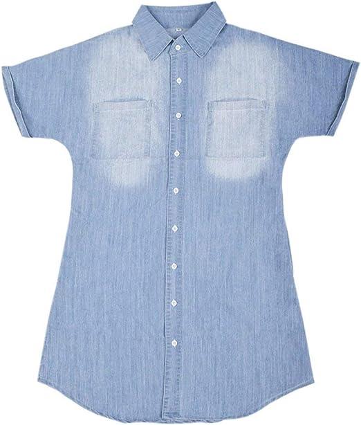 DGdolph Camisa Vaquera de Manga Corta de Verano de Europa y América Camisa Vestido de Mujer Azul Claro S: Amazon.es: Hogar