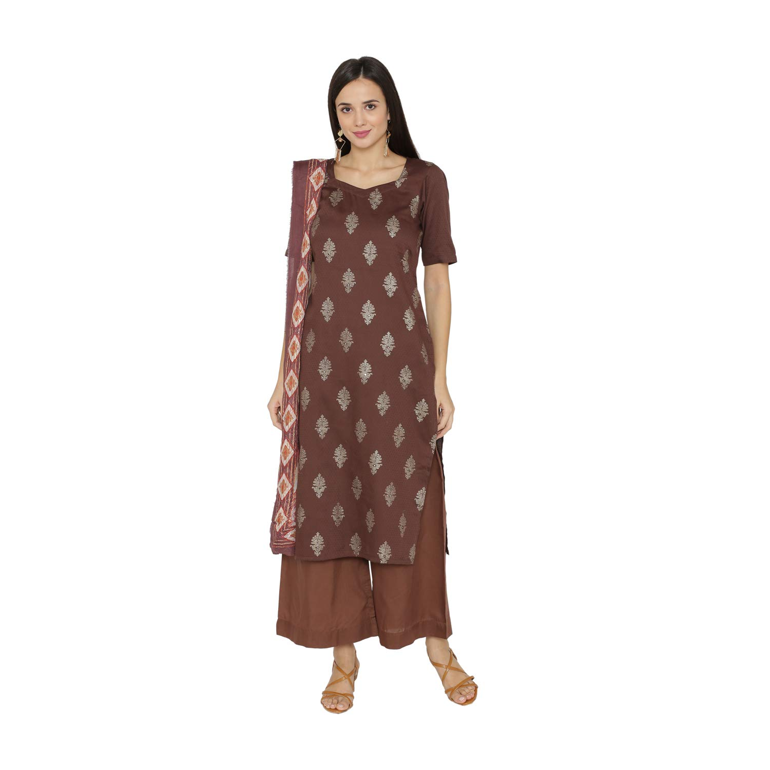 PinkShink Brown Cotton Kurta Palazzo Dupatta Set b119