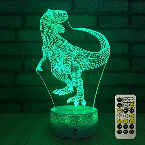FlyonSea Night Lights Kids Bedside Lamp 7 Colors Change Remote Control Timer Kids Night Light optical illusion Lamps Kids Lamp As a Gift Ideas Boys Girls (Dinosaur) by FlyonSea (Image #1)