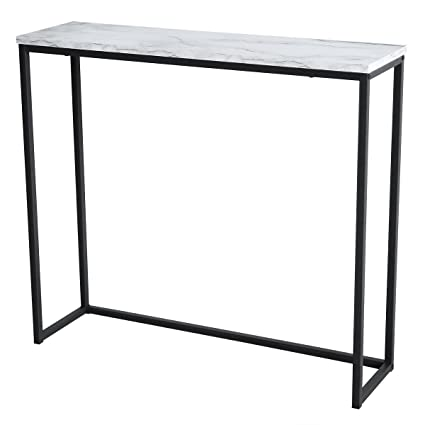 Tilly Lin Modern Accent Faux Marble Console Table, Black Metal Frame, For  Hallway Entryway