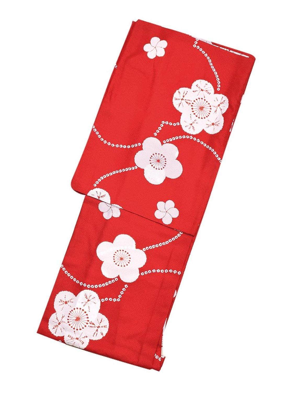 [ 京都きもの町 ] 単衣 着物単品「赤色 絞り風梅のお花」小紋 夢館オリジナル B0786DCLJP L
