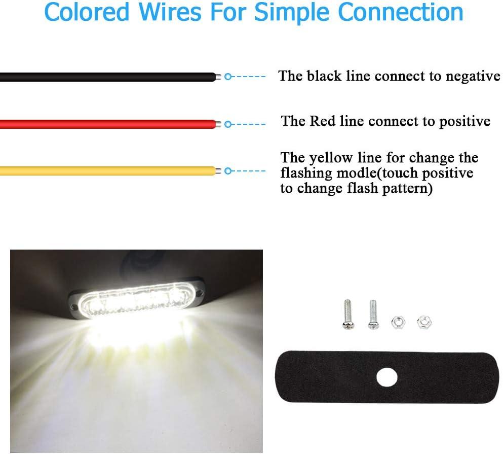 Blanc 4pcs 12-24V Ultra Mince Voyant Barre Dalarme Stroboscopique durgence Lampe 4 LEDS Bande lumineuse Davertissement de Flash Camion Moto Voiture