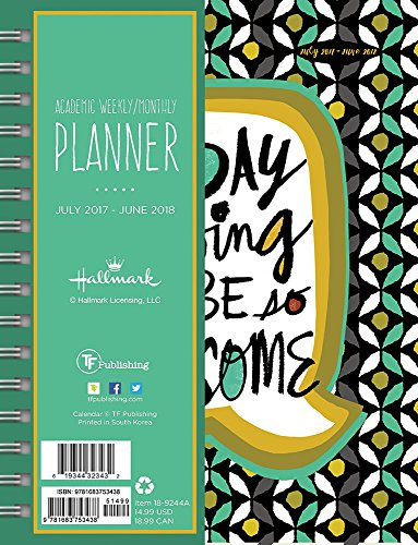 2018 Academic Year Awesome Today Medium Weekly Monthly Planner