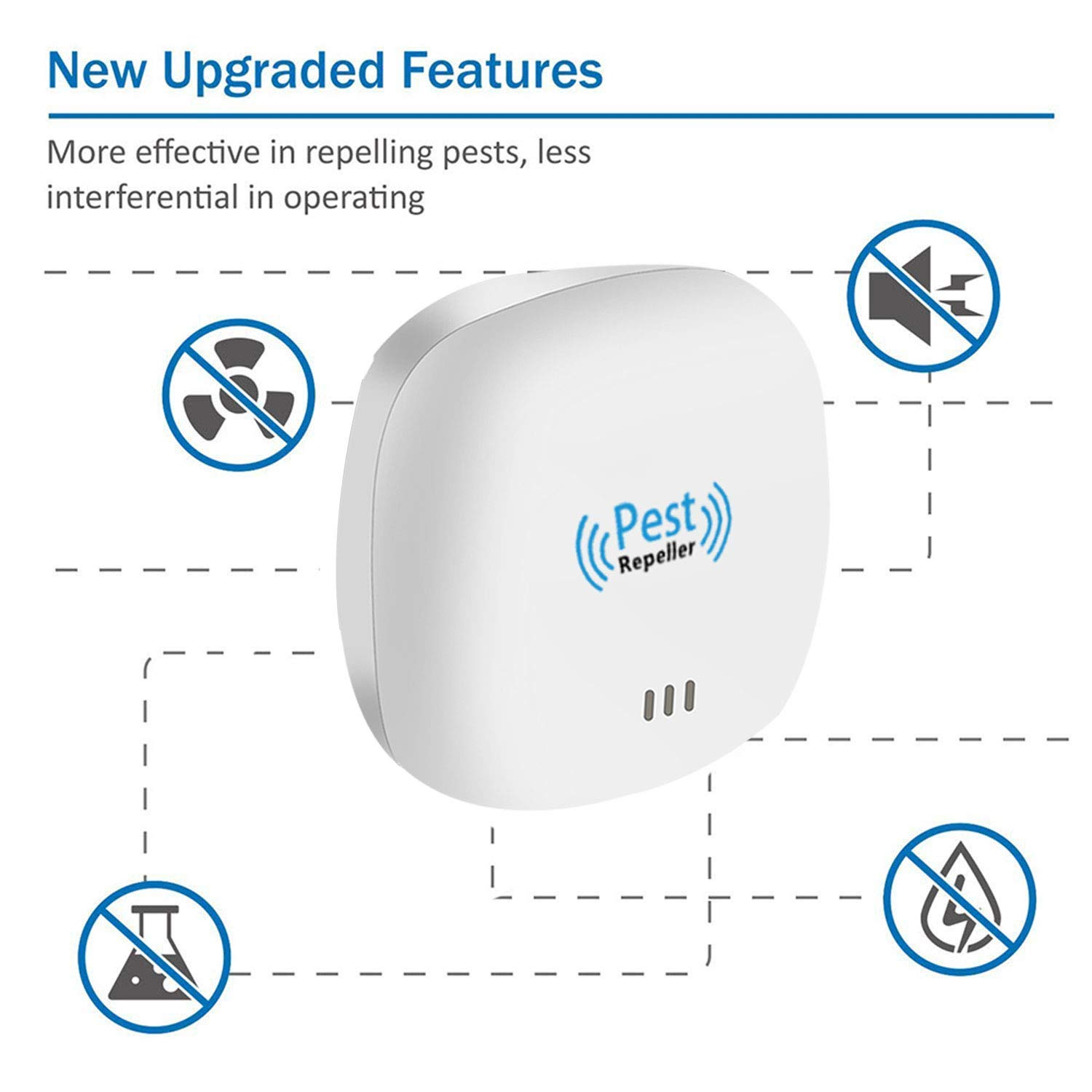 Electronic Plug In Pest Control Indoor//Outdoor Use 100/% Human /& Pet Safe Repellent Insects /& More Bugs For Cockroach Spiders Ultrasonic Pest Repeller Upgraded Mice Rats Flies Mosquitoes