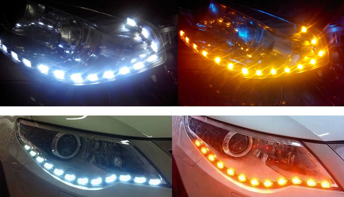 Ijdmtoy 2 White Amber Switchback Led Strip Lighting Nissan 350z Radio Wiring Harness 2007 Names For Headlight Retrofit W Sequential Turn Signal Feature Automotive