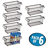 mDesign Household Stackable Wire Storage Organizer Bin Basket with Built-In Handles for Kitchen Cabinets, Pantry, Closets, Bedrooms, Bathrooms – 12'', Pack of 6, Steel in Durable Bronze Finish