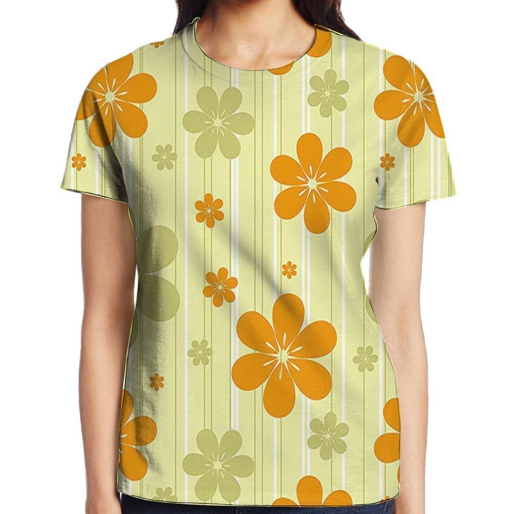 c2503aeb8216 Amazon.com: WuLion Big Little Flourishing Graphic Flowers Striped  Background Women's 3D Print T Shirt White: Clothing