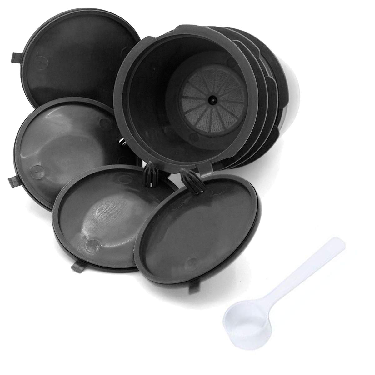 ALLOMN コーヒーカプセル BPAフリー 詰め替え可能 再利用可能 Dolce Gusto用 4個パック ブラック  Black+Spoon B07NJKPBP5