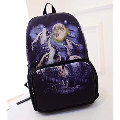 YOYOSHome® Cute Wolf Animal Print Travel College Backpack School Shoulder Bag