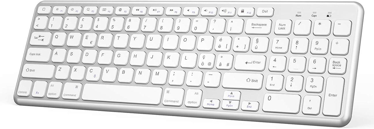 OMOTON Teclado Bluetooth AZERTY francés acentuado ultrafino para tableta iOS, iPad Air, iPhone, teclado inalámbrico blanco