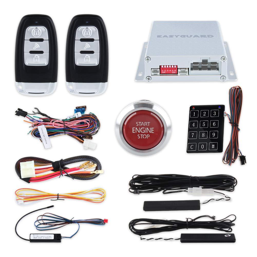 EASYGUARD EC002-P4 Smart Key PKE car Alarm with auto Start Push Engine Start Button & keyless go Password Entry Lock Unlock DC12V