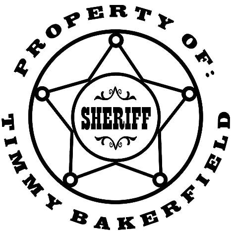 Custom Cowboy Sheriff Badge Rubber Stamp